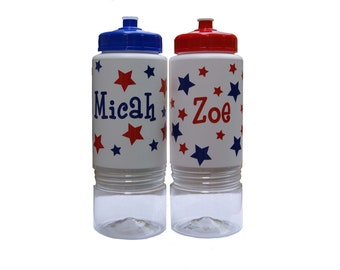 Personalized Sip n' Stow Water Bottle - Red, White & Blue Stars