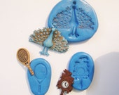 Cuckoo Clock, peacock ,racquet Flexible Silicone Push Mold for Polymer clay, Resin,Wax,Miniature Food,Sweets,plaster