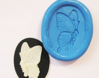 Butterfly cameo Flexible Silicone Push Mold for Polymer clay, Resin,Wax,Miniature Food,Sweets,plaster