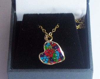 Beautiful Gold-Filled & Polymer Clay Heart Chain Pendant by Orly Kliger