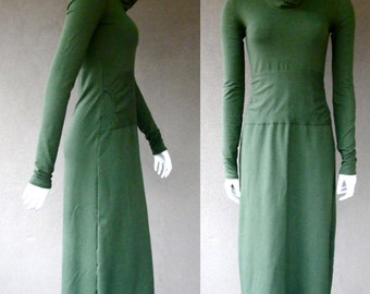 Maxi ankle length dress - dress with pockets - green sweater dress - organic cotton dress - long knit dress - organic women's clothes