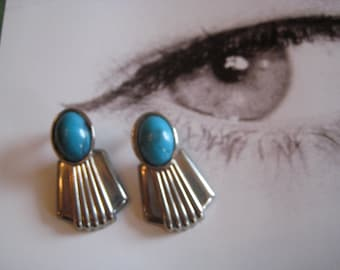 TURQUOISE and SILVER VINTAGE Earrings, fan shaped silver, turquoise stone earrings, pierced earrings, vintage earrings, gift for her, fashio