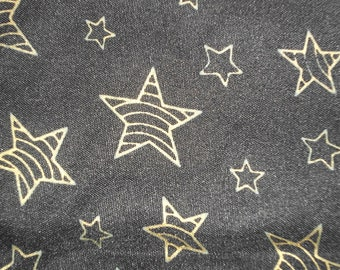 "Metallic Gold Stars Black Fabric 2 Yards"" X 42"" Magical Celestial Pagan Quilting Yardage"