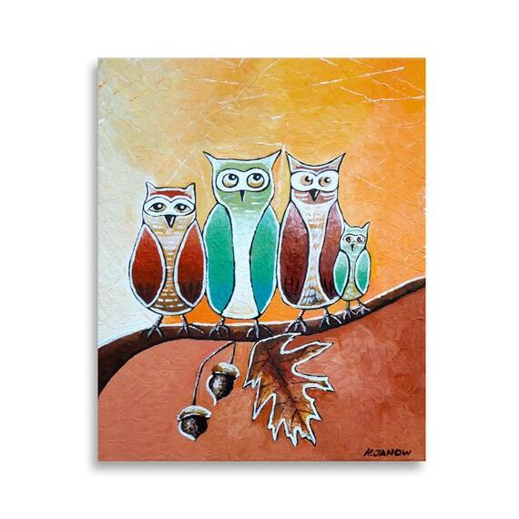 Folk Art Acrylic Painting - Kids Art Owl Decor  - Whimsical Art 8x10x1.5 - Black Friday Etsy Cyber Monday Etsy