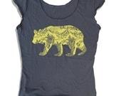 Womens CALifornia Bear Scoop Neck Tee  - american apparel T Shirt S M L XL (5 Color Options)
