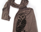 OWL Scarf - Unisex Long Vintage Soft Tri Blend Jersey american apparel (2 Color Options)