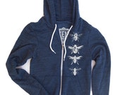 Unisex BEES Fleece or Tri-Blend Zip Hoody - American apparel XS S M L XL (8 Colors)
