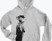 Unisex Pullover Hoody - OTTER (in a Fedora) - Flex Fleece Classic Sweatshirt - (2 Color Options) - American Apparel sizes xs s m l xl