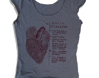 Womens Anatomical HEART Scoop Neck Tee - american apparel T Shirt S M L XL (6 Color Options)
