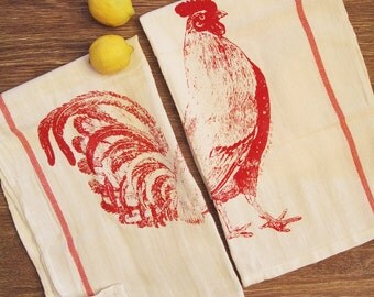 Set of 2 - ROOSTER Red Stripe Herringbone Kitchen Towels - Renewable Natural Cotton