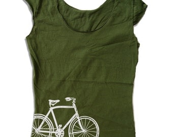 Womens BIKE Scoop Neck Tee - american apparel T Shirt S M L XL (6 Color Options)