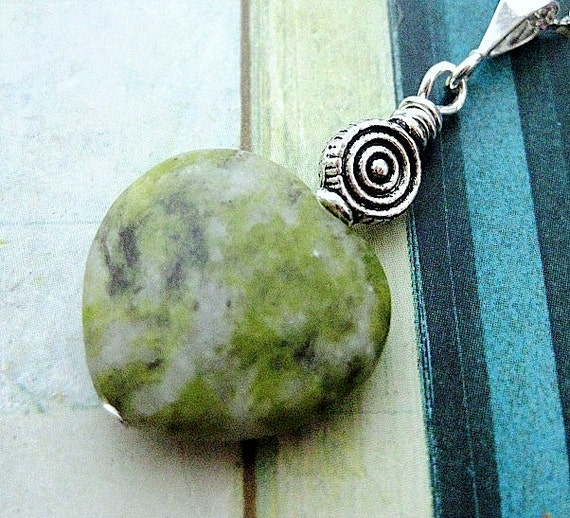 Irish, Celtic Pendant,  Connemara Marble Heart with Silver Spiral. Infinite