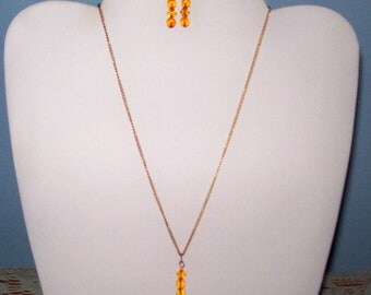 Citrine Glass Bead Necklace