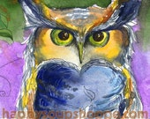 Horned Owl Blank Greeting Card Autumn Green Purple