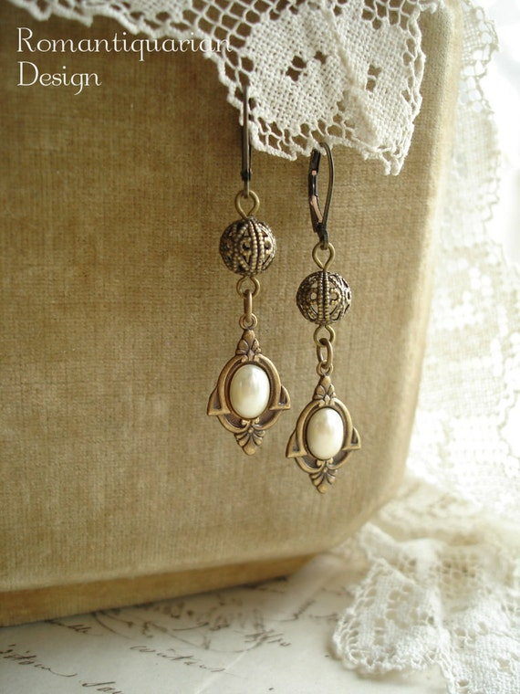 DECO DROPS - Art Deco Earrings. Antiqued Brass, Vintage Ivory Glass Pearls, Filigree Beads. Rustic Romantic Vintage Assemblage Jewelry.