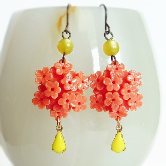 Coral Carved Flower Earrings Vintage Floral Celluloid Coral Yellow Bouquets