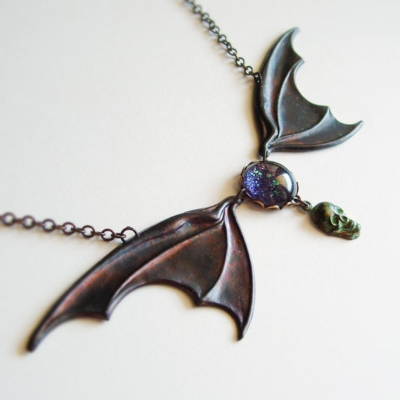 Large Bat Wing Necklace Bat Necklace Huge Dragon Wing Necklace Victorian Halloween Statement Jewelry Black Brass Metal