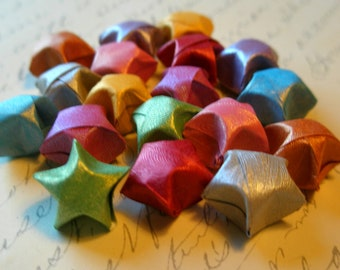 Origami Stars - 18 Lunar Mist Rainbow Origami Lucky Stars - Confetti, Party Favor, Gift Enclosure, Art or Craft Supply - Small Paper Stars