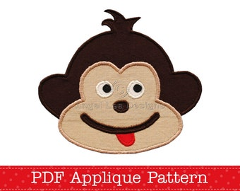 Cheeky Monkey Applique Template, Animal, DIY, PDF Pattern by Angel Lea Designs, Instant Download Digital Pattern