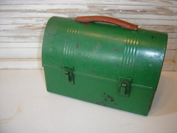 Vintage Green Rusty Chippy Industrial Thermos Metal Lunch Box