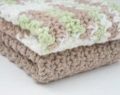 "Crochet Dishcloths Cotton Yarn Washcloths Set of 2 Coffee Brown and Light Green 8"" Square Kitchen Bathroom"