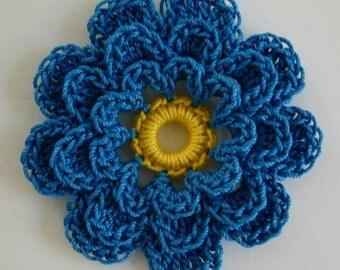 Blue Crocheted Flower Cotton Crocheted Embellishment Crocheted Applique