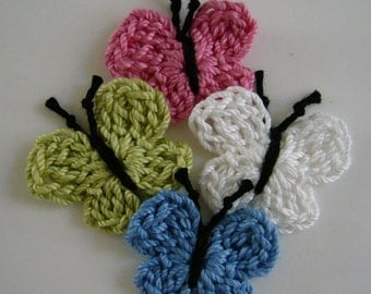 Crocheted Butterflies - Rose Pink, White, Blue and Lime Green - Cotton Butterfies - Set of 4