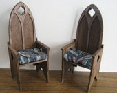 Tudor Armchairs, two,  in twelfth scale, a dollhouse miniature