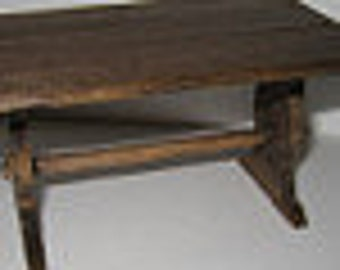 Dollhouse Tudor table, Trestle table, Medieval table, Dark OakTable, trestle, Tudor,  twelfth scale, dollhouse miniature