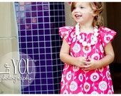 Childrens Clothing...Back To School.... Pink Mod Flower City Dress.....handmade childrens clothing by laken and lila
