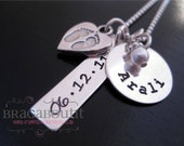 Hand Stamped Mommy Jewelry - Personalized Sterling Silver Necklace - My Baby Footprints On My Heart