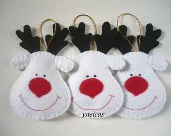 Christmas Felt Ornaments -  Felt Christmas Rudolph the Red Nosed Reindeer  - White Reindeers - 2017 Xmas - ONE Ornament