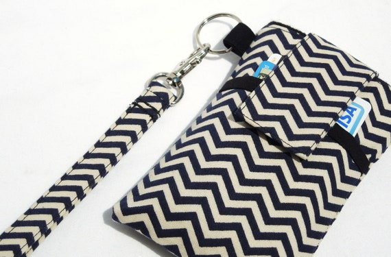 Wristlet strap cell phone sleeve purse, cell phone bag, smart phone cover bag, cell phone purse  - Black White Cheveron