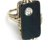 c.1910 Edwardian Onyx, Diamond,14kt Yellow Gold Filigree Ring:  love token, engagement ring, friendship ring