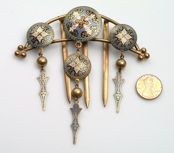 Hair Ornament COMB: Champleve Enamel over Brass