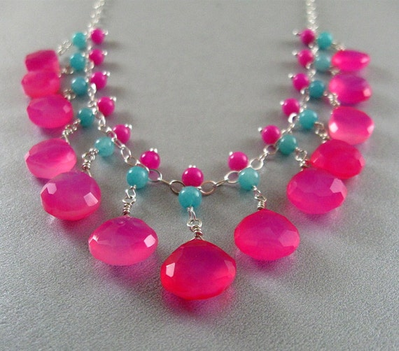 Reserved- Bright Pink and Turquoise Blue Gemstone Wire Wrapped Necklace