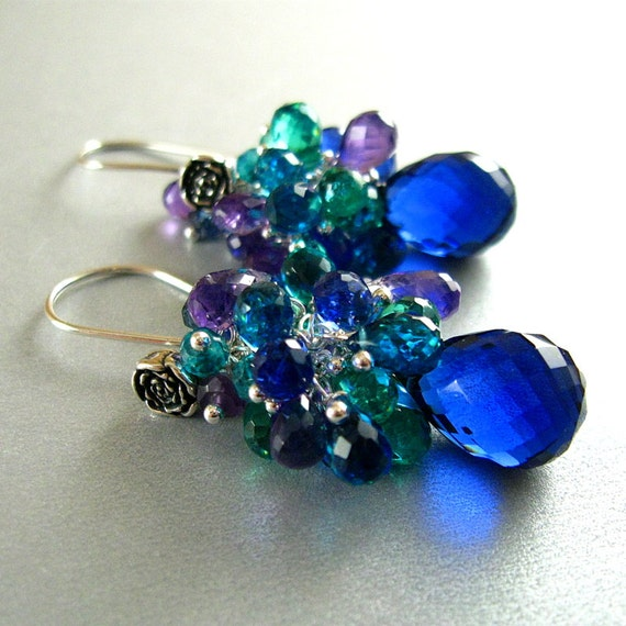 Blue Quartz Gemstone Sterling Wire Wrapped Cluster Earrings
