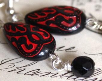 Red and Black Earrings, choose HOOKS or screw back Carved Teardrop Dangle earrings, vintage style Black drop earrings, Edwardian style  E169