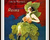 "French Advertisement Poster circa 1915 ""CHAMPAGNE"" Bar Decor - Kitchen Decor - Wine Poster - Giclee Fine Art Print"