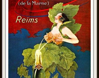 "French Advertisement Poster circa 1915 ""CHAMPAGNE"" Bar Decor - Kitchen Decor - Wine Poster - Giclee Fine Art Print"
