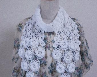 Lace Crochet Stole Scarf - Flower Motif White -