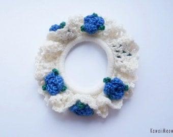 Kawaii Hair Scrunchie Off-white Frill Blue Rose