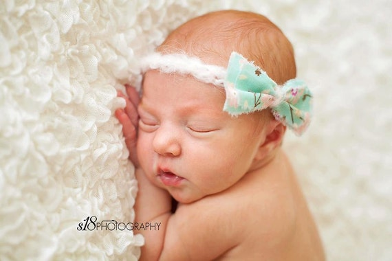 "Newborn Photo Prop ""Little Lovie"" Headband with Bow and Soft Crocheted Tie Back Band"