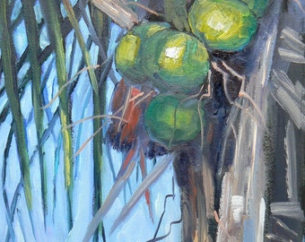 """Tropical Landscape Painting,Florida Art, Original Oil, 6x8 painting, """"Going Coconuts"""""""