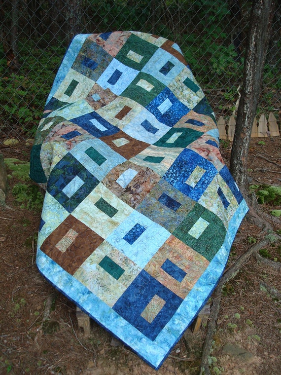 Blue and Green Earthy Batik Twin Bed Quilt