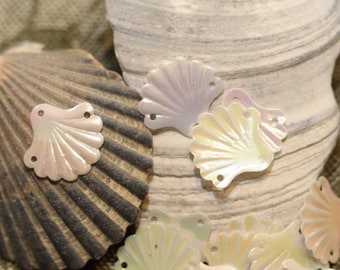 Teensy Tiny pearl iridescent VINTAGE Fan Clam Sea Shell sequins - (30) 12 mm