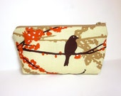 Medium Zipper Pouch  Fabric Pouch Cosmetic Pouch Toiletry Bag Bird on a Branch - handjstarcreations