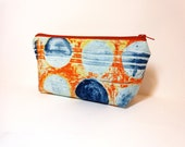 Medium Zipper Pouch Cosmetic Pouch Pencil Case Blue Dots on Rust
