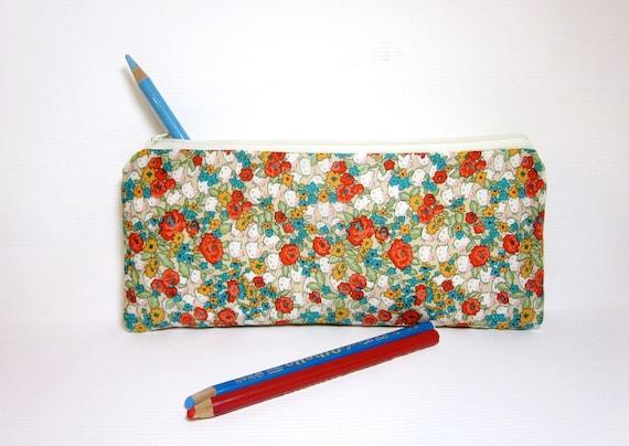 Cotton Pencil Case Zipper Pouch  Kittens and Flowers