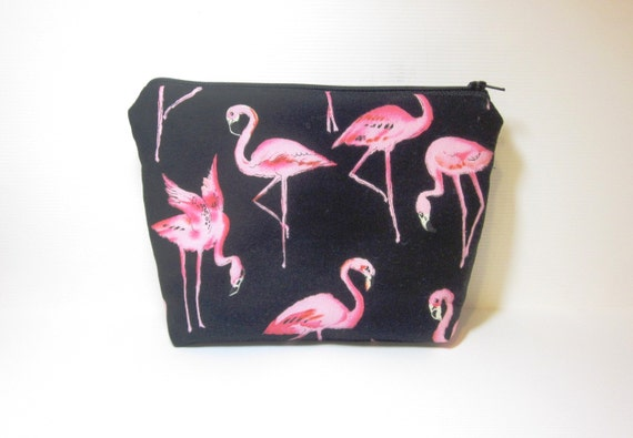 Large Cotton Zipper Pouch Toiletery Bag Cosmetic Pouch - Pink Flamingos
